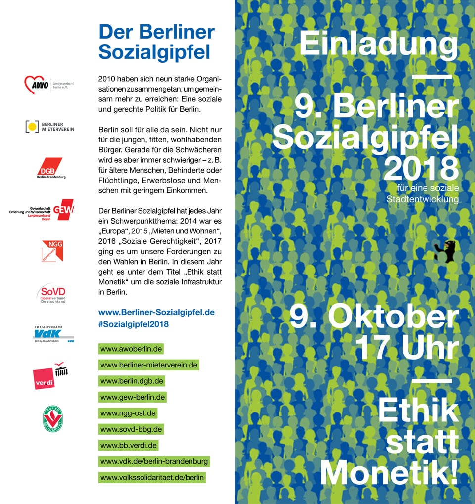 Einladung zum Berliner Sozialgipfel am 09.10.2018